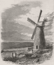 ISRAEL: The first windmill in Jerusalem, antique print, 1858